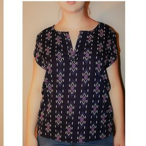 Adrienne Geometric Blue and Pink Blouse Sz L